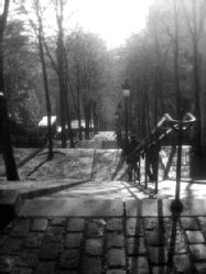 The steps at Montmartre in black and white