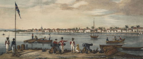 'View in the town of Belize...taken from Fort George' (1848)
