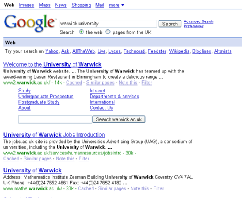 Warwick Search Results