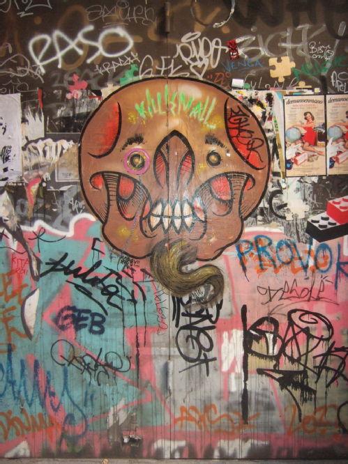 Graffitied doorway, Barcelona