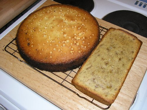 Fruit cake and banana loaf