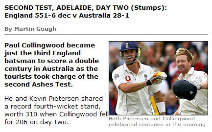 Ashes cricket score from BBC Sport Online