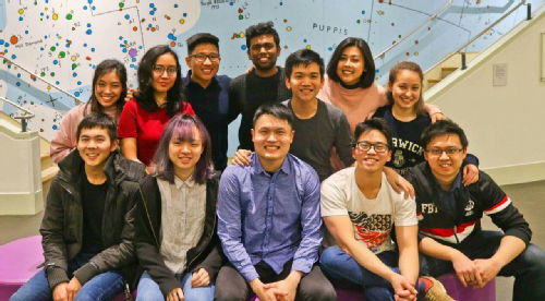 Row 1 (from left to right): Stage Manager Alex Zhong, Assistant Director Ang Kia Yee, Co-Director Dominic Nah, Main Director & Playwright Edward Eng, Assistant Producer Joshua Ting. Producer Ching Yi is in Row 2 (second from right)
