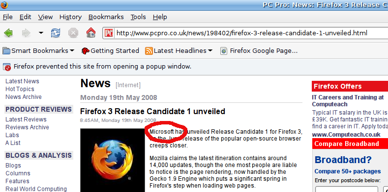 PC-Pro firefox release announcement