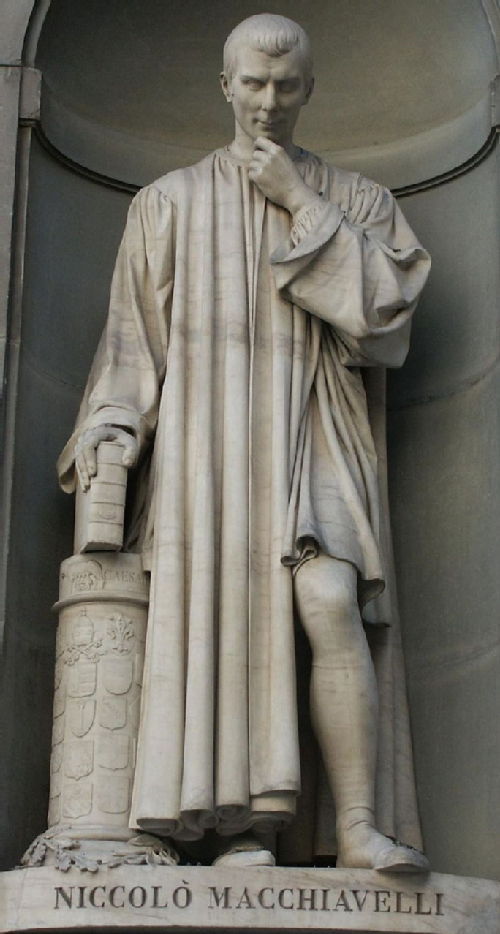 19th century statue of Niccolò Machiavelli at the Uffizi Gallery.
