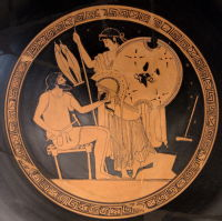 Hephaistos and Thetis, Foundry Painter. Attic red-Figure kylix tondo, c.490-80BC.