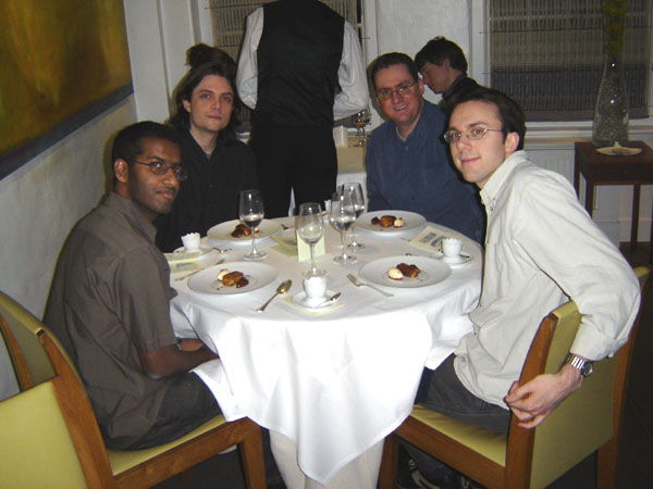 Pras, Alex, Alastair, Dan at the Fat Duck