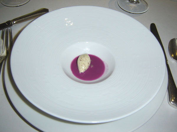 Grain mustard ice cream with red cabbage gazpacho