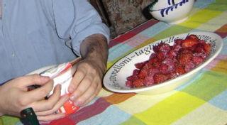 Strawberries, raspberries and cream