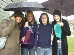 Ladies. In the rain