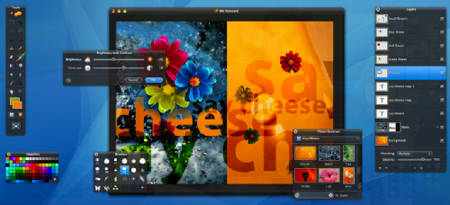 Beautiful Pixelmator user interface with transparent heads-up display palettes