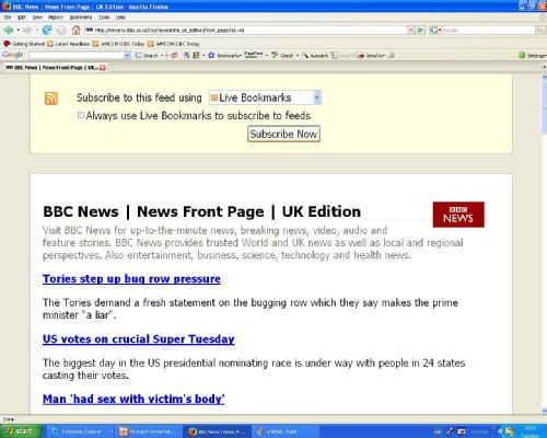Subscribe to BBC Newsfeed using Firefox