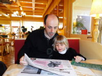 Reading the Hamburger Abendblatt with my niece
