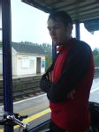 Rainy last day - Chris at Bedwyn station