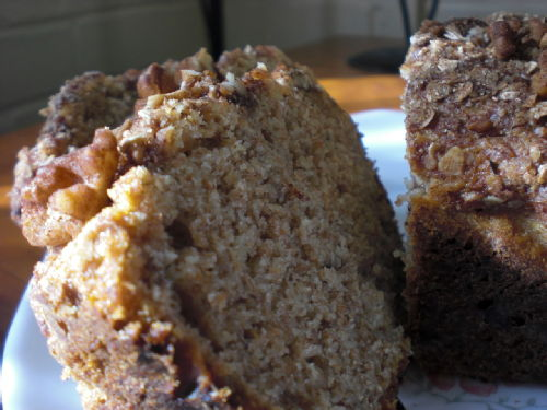 banana loaf with granola topping