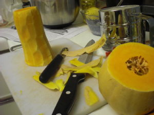 cutting up butternut squash