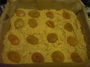 unbaked butternut squash and apricot cake