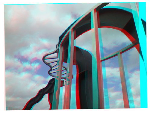 anaglyph of the wobbly statue, Warwick