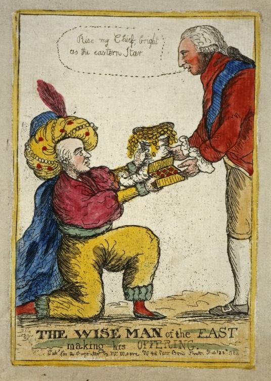 Hastings offering presents cartoon.