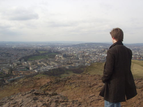Myself, standing 250 metres above the city of Edinburgh, March 2006