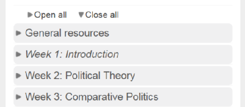 Collapsed topics with the sections closed