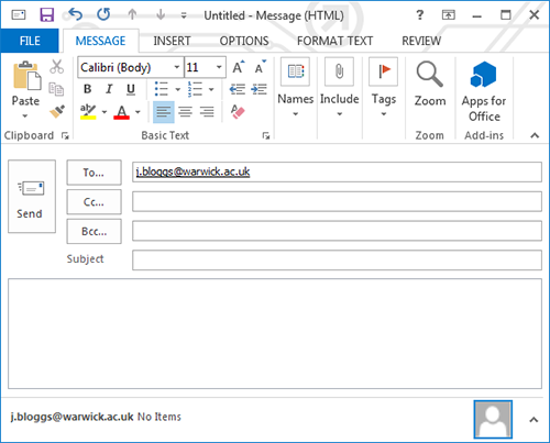 Composing an email in Outlook