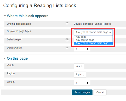Display on page types