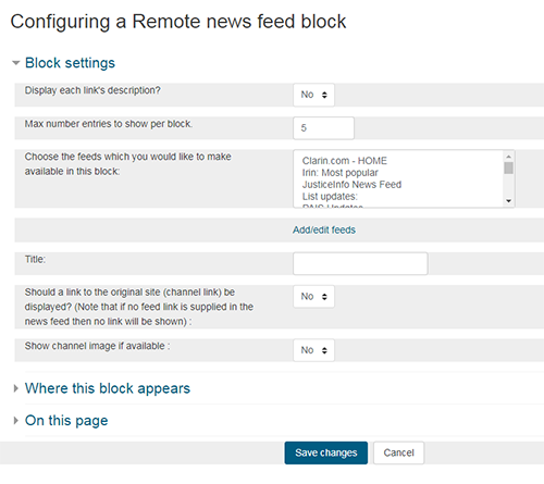 Configure RSS feeds