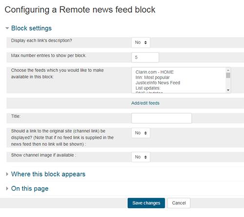 Configure RSS feeds