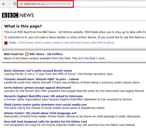BBC politics feed URL