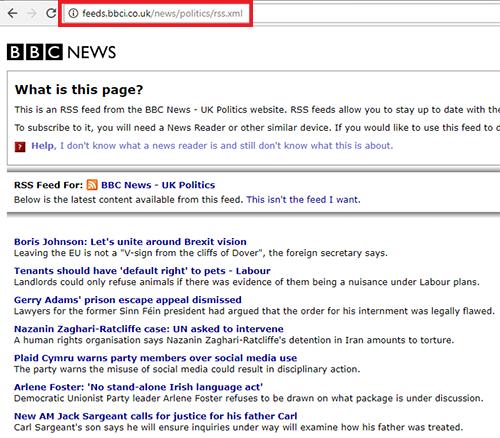 BBC politics feed URL