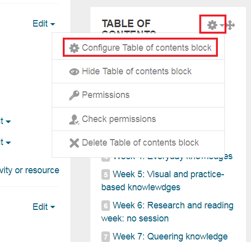 Configure button for table of contents