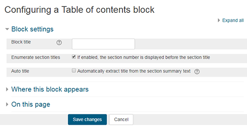 Configure contents block