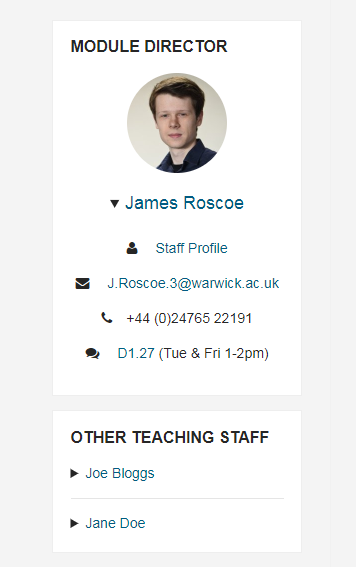 Teaching staff information