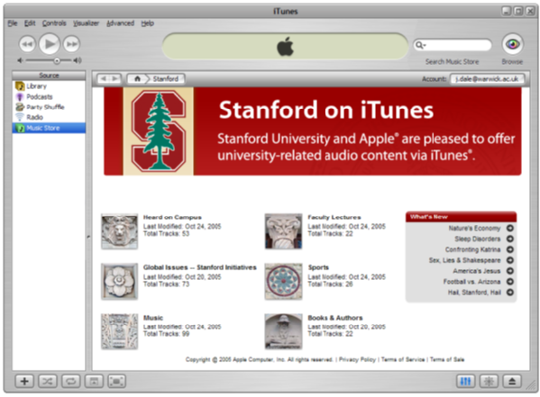 Stanford University iTunes home page