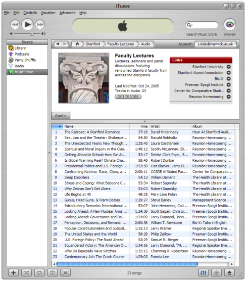 Lecture list from Stanford iTunes