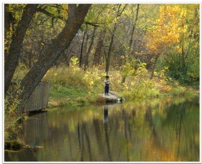 Boy fishing, Boulder, Colorado, Oct 2004