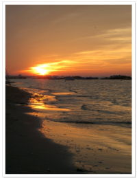 Sunset on the beach, Cattolica, Italy