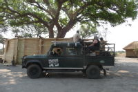 The Land Rover pickup ready to go on predator capture.
