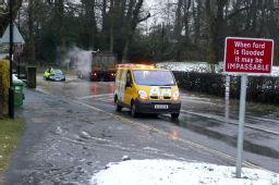 Kenilworth ford in flood
