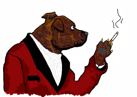 Jungle, my dog, in a smoking jacket. By me.