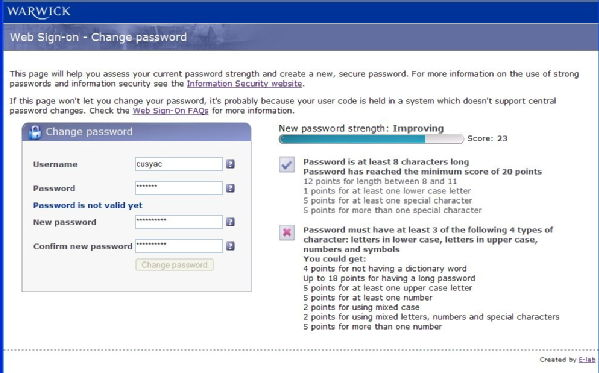 Change password screenshot