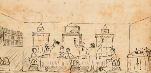 Rawson household sketch 1877 Champagne toast