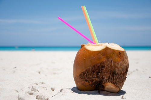 Coconut shell with straws on beach