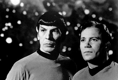 Photo of Leonard Nimoy and William Shatner dressed as Spock and Kirk from the tv show Star Trek