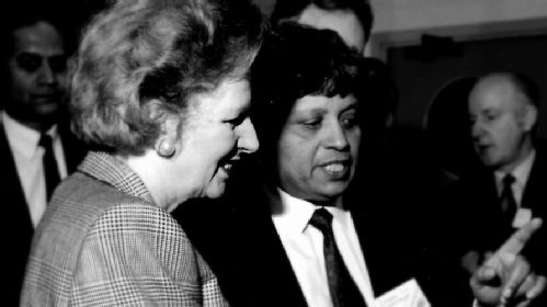Photograph of Baroness Lady Thatcher at the University of Warwick