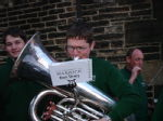 Sam attempting to play the tuba!