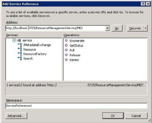 Accessing the FIM Web Service from Visual Studio