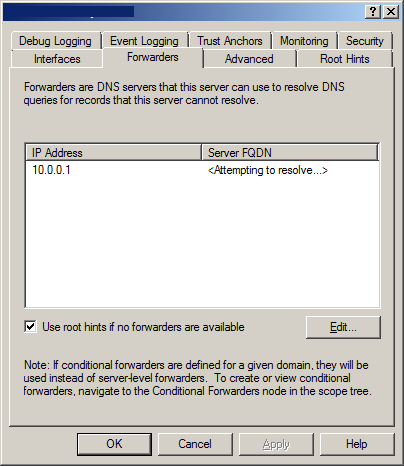 new conditional forwarder