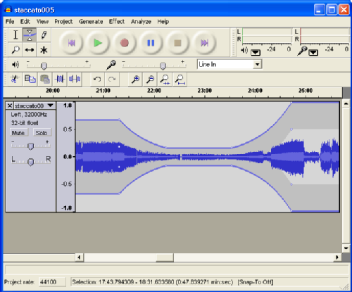 Audacity screenshot of envelope tool